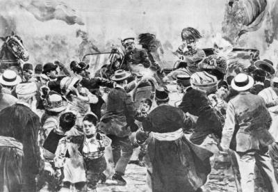 Attentat von Sarajevo, Zeitungsillustration von 1914 (c) SKB